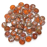 7.5 Grams of 6mm Czech Glass 2-Hole Cabochon Beads - Opaque Hyacinth Picasso